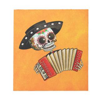 Músico de Dia de Muertos Skeleton Blocs De Papel