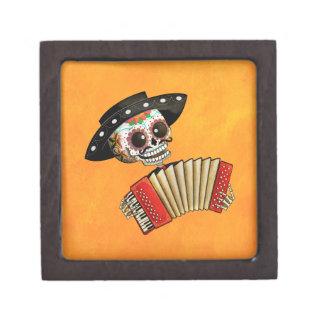 Músico de Dia de Muertos Skeleton Cajas De Joyas De Calidad