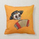 Músico de Dia de Muertos Skeleton Cojines