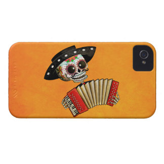 Músico de Dia de Muertos Skeleton iPhone 4 Cárcasa
