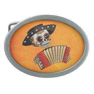 Músico de Dia de Muertos Skeleton Hebilla Cinturón