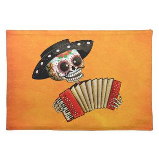 Músico de Dia de Muertos Skeleton Mantel Individual