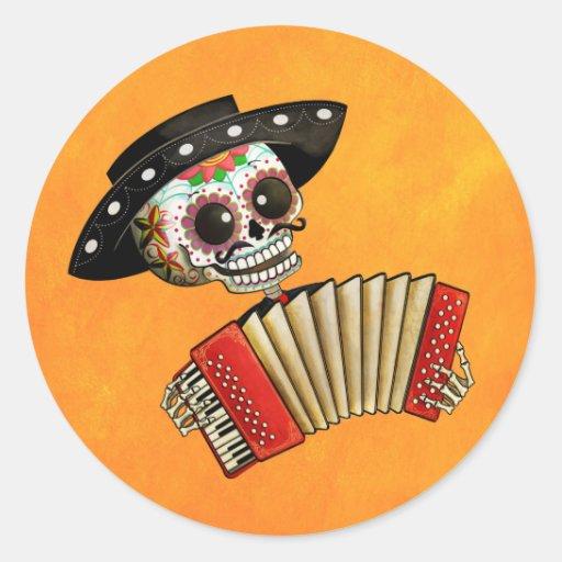 Músico de Dia de Muertos Skeleton Etiqueta Redonda