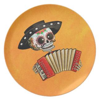 Músico de Dia de Muertos Skeleton Plato De Comida