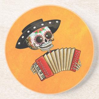 Músico de Dia de Muertos Skeleton Posavasos Para Bebidas