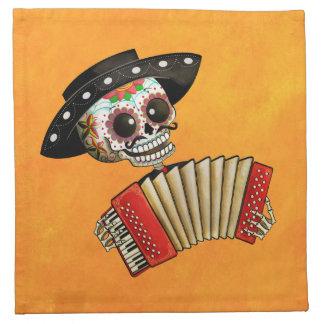 Músico de Dia de Muertos Skeleton Servilleta