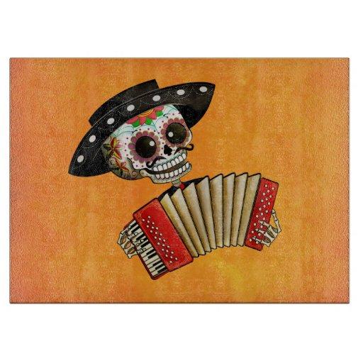 Músico de Dia de Muertos Skeleton Tablas De Cortar