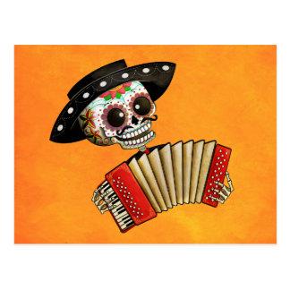 Músico de Dia de Muertos Skeleton Tarjeta Postal