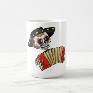 Músico de Dia de Muertos Skeleton Tazas De Café