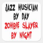 Músico de jazz del asesino del zombi colcomanias cuadradas