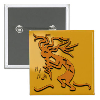 Músico de Kokopelli Pin Cuadrado