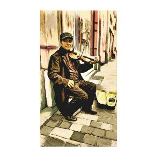 Músico de la calle de Bruselas - el violinista Lona Envuelta Para Galerías