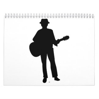 Músico de la guitarra calendario de pared