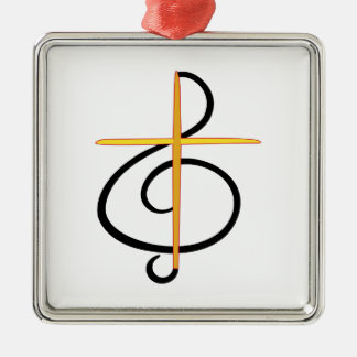 Músico de la iglesia adorno navideño cuadrado de metal