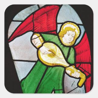 Músico del ángel calcomanías cuadradas personalizadas