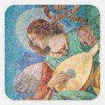 Músico del ángel pegatina cuadrada