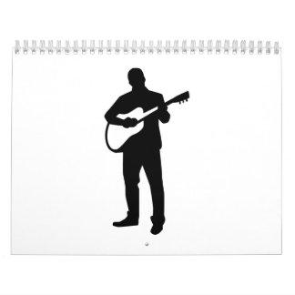 Músico del guitarrista calendario