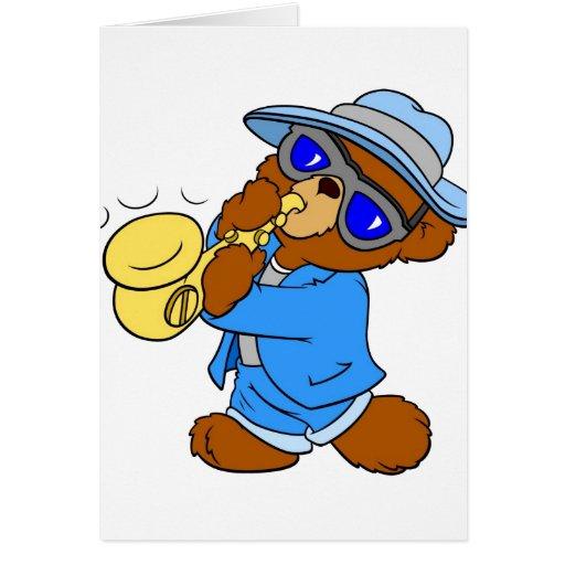 Músico del oso de peluche tarjetas