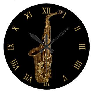 Músico Música-Temático del saxofón Reloj Redondo Grande