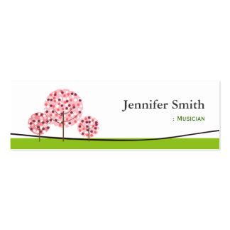 Músico - símbolo rosado lindo del árbol tarjetas de visita mini
