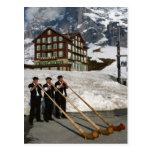 Músicos de Alphorn en Kleine Scheidegg Suiza Tarjeta Postal