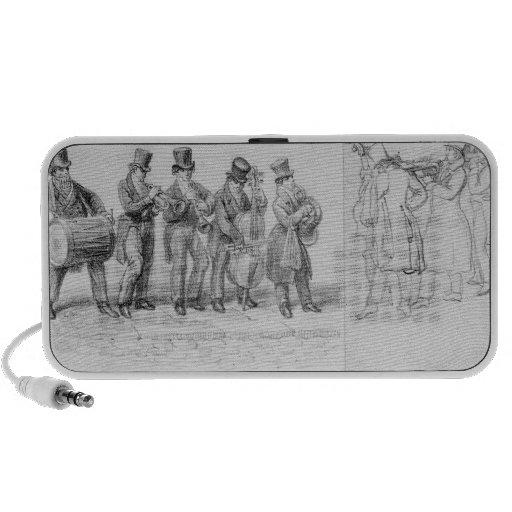 Músicos de la calle de Londres, c.1820-30 Altavoces De Viajar