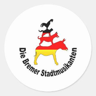 Músicos de la ciudad de Bremen Etiqueta Redonda