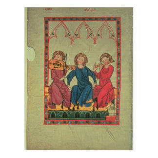 Músicos, del códice de Manasse, una colección de Postales