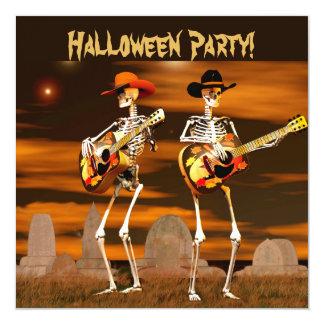 """Músicos del esqueleto del fiesta de Halloween Invitación 5.25"""" X 5.25"""""""