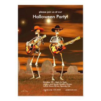 Músicos del esqueleto del fiesta de Halloween Invitación 12,7 X 17,8 Cm
