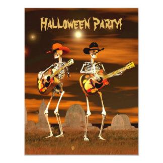 Músicos del esqueleto del fiesta de Halloween Invitación 10,8 X 13,9 Cm