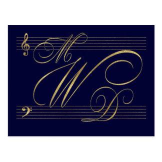 Músicos en logotipo del monograma del boda del amo postales