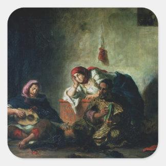 Músicos judíos en Mogador, 1847 Calcomania Cuadradas Personalizadas