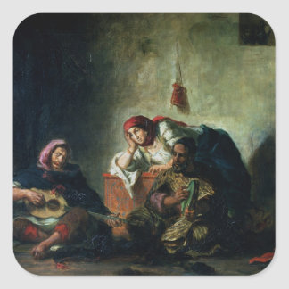 Músicos judíos en Mogador, 1847 Pegatina Cuadrada