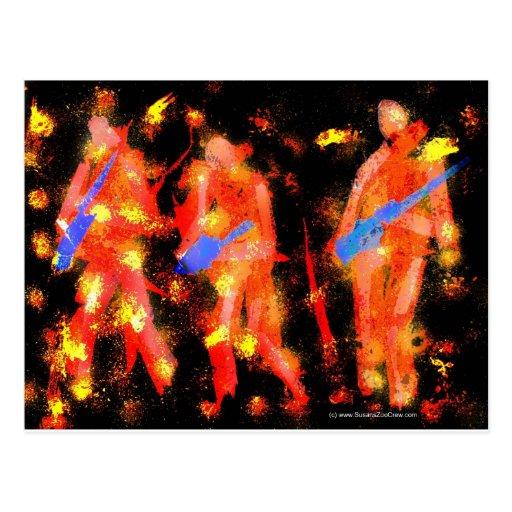 Músicos negros y anaranjados abstractos tarjetas postales
