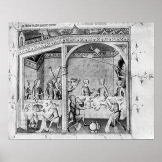 Músicos que entretienen en un banquete póster