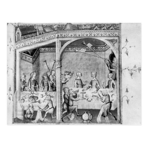 Músicos que entretienen en un banquete tarjeta postal