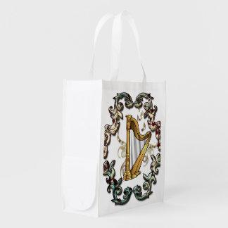 Musik, mit de la arpa dekorativen elementos bolsa reutilizable