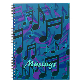 Musings Music Notes Dreamy Pattern Customizable Notebook
