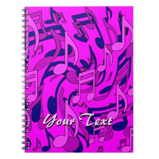 Musings Music Notes Magenta Pattern Customizable Notebook