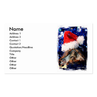 Musk Turtle Wearing Santa Hat Mouth Open Business Cards