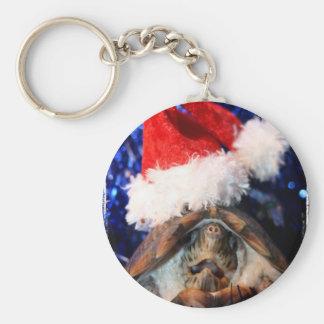 Musk Turtle Wearing Santa Hat Mouth Open Keychain