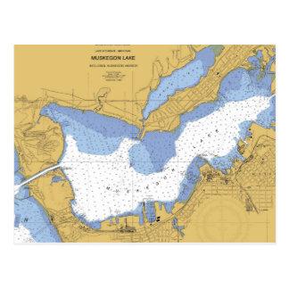 Muskegon carta náutica del puerto del MI Postales
