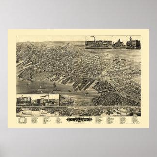 Muskegon, mapa panorámico del MI - 1889 Posters