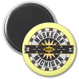Muskegon, MI MKG Airport 2 Inch Round Magnet