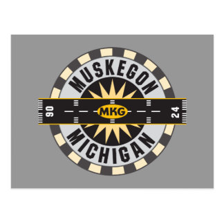 Muskegon, MI MKG Airport Postcard