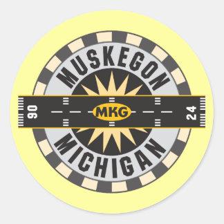 Muskegon, MI MKG Airport Classic Round Sticker