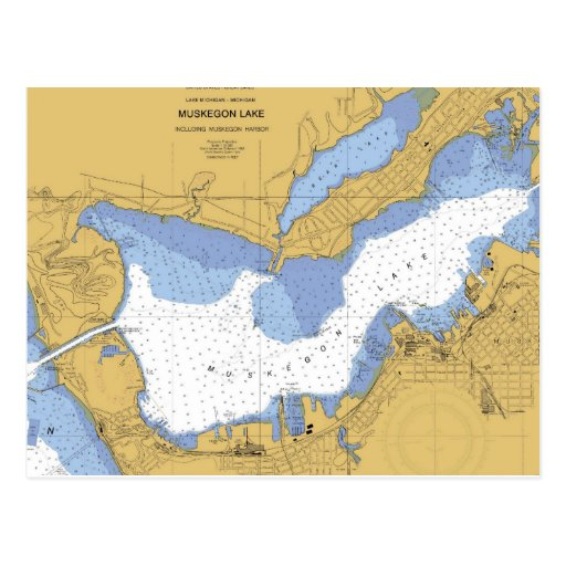 Muskegon, MI Nautical Harbor Chart Postcard
