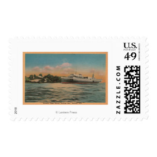 Muskegon, MI - View of Milwaukee Clipper Stamp