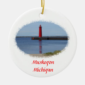 Muskegon Michigan Lighthouse Double-Sided Ceramic Round Christmas Ornament